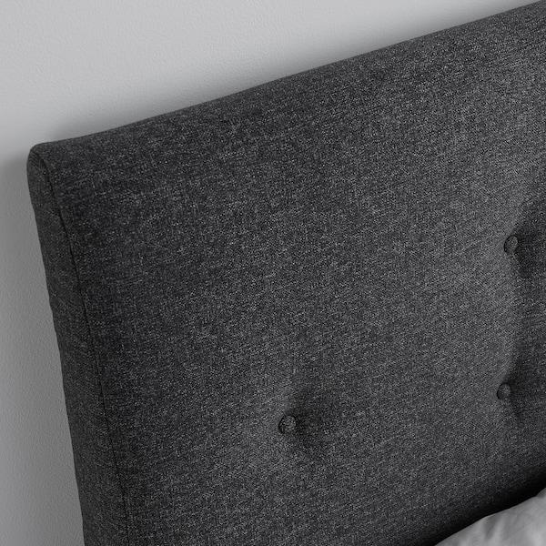 IDANÄS 이다네스 쿠션형 침대프레임, 군나레드 다크그레이, 90x200 cm