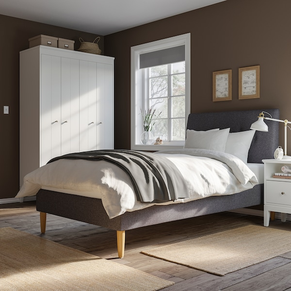 IDANÄS 이다네스 쿠션형 침대프레임, 군나레드 다크그레이, 120x200 cm