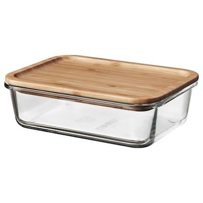 IKEA 365+ 이케아 365+ 식품보관용기+뚜껑, 직사각 유리/대나무, 1.0 l