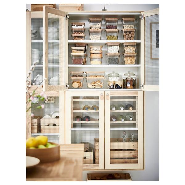 IKEA 365+ 이케아 365+ 식품보관용기+뚜껑, 사각 유리/대나무, 1.2 l