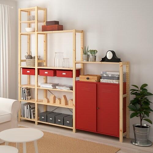 IVAR 이바르 선반유닛+수납장/서랍 IKEA 무가공 원목은 내구성이 뛰어난 천연소재로 오일이나 왁스를 칠하면 내구성이 높아지고 관리도 편해집니다. 좋아하는 색을 덧칠해서 나만을 위한 맞춤가구를 만들어보세요.
