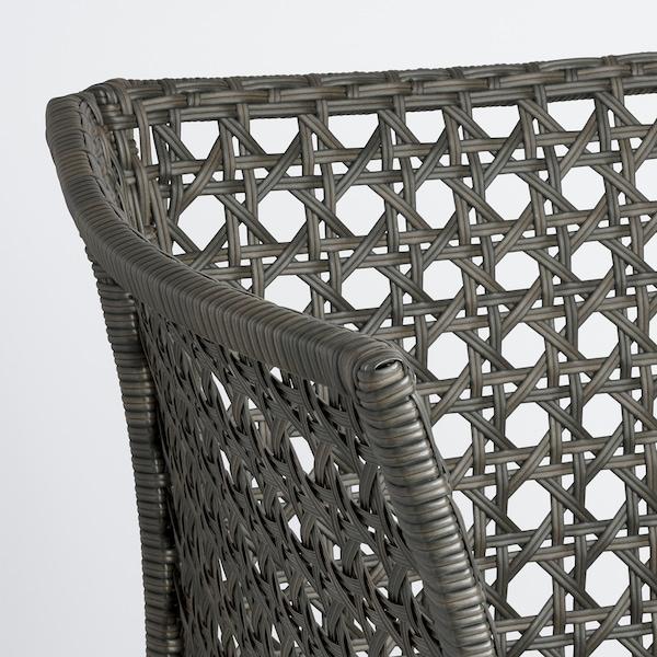 JUTHOLMEN 유톨멘 3인용 모듈소파, 야외용, 다크그레이/쿠다르나 베이지