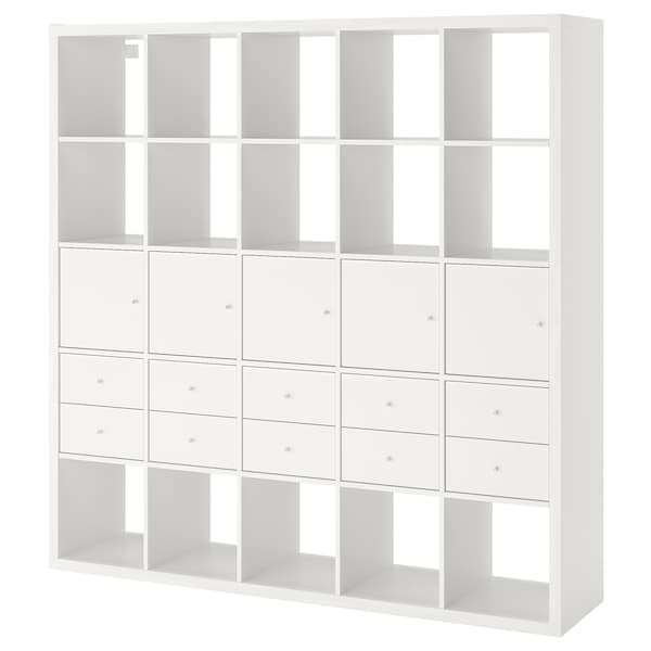 KALLAX 칼락스 선반유닛+인서트10, 화이트, 182x182 cm