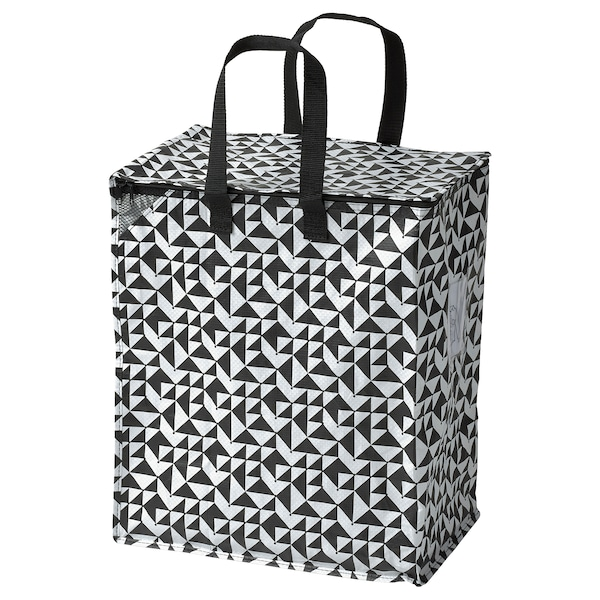 KNALLA 크날라 가방, 블랙/화이트, 40x25x47 cm/47 l
