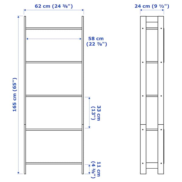 LAIVA 라이바 책장, 블랙브라운, 62x165 cm