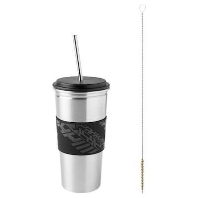 LÅNESPELARE 로네스펠라레 머그컵+뚜껑+빨대, 블랙