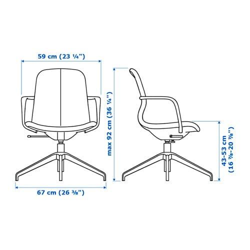 LÅNGFJÄLL 롱피엘 회전의자 IKEA 체중과 움직임에 맞춰 기울임 강도 조절장치를 렌치로 쉽게 조절할 수 있어서 의자에 안정적으로 기댈 수 있어요. 허리지지대가 내장되어 있어서 더욱 안정적이고 편안합니다.