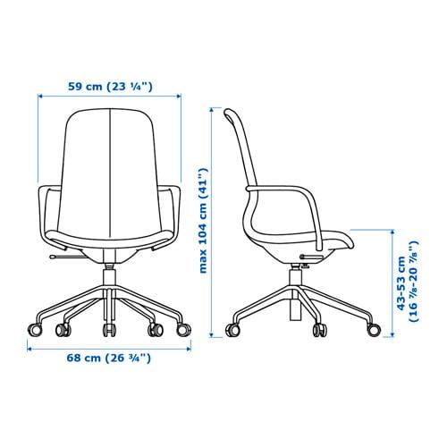 LÅNGFJÄLL 롱피엘 회전의자 IKEA 부드러운 곡선과 박음질 디테일이 특징인 사무용 의자로, 시트 아래에 숨겨진 편리한 기능 덕분에 디자인이 더욱 돋보입니다.
