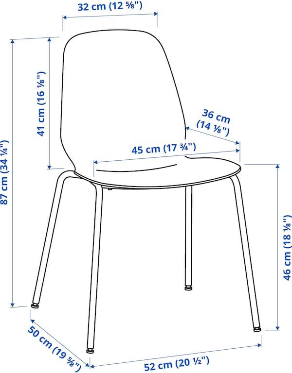 LEIFARNE 레이파르네 의자, 화이트/브로링에 크롬도금
