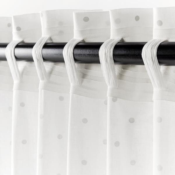 LEN 렌 커튼한쌍+장식띠, 도트/화이트, 120x250 cm