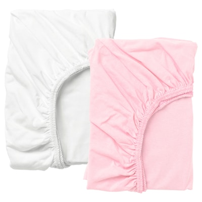 렌 유아용매트리스커버 화이트/핑크 120 cm 60 cm 2 개