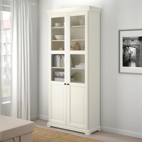 LIATORP 리아토르프 책장+유리도어, 화이트, 96x215 cm