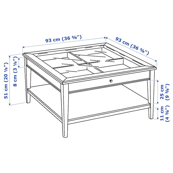LIATORP 리아토르프 커피테이블, 화이트/유리, 93x93 cm