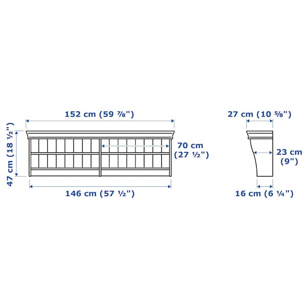 LIATORP 리아토르프 벽/연결 선반, 화이트, 152x47 cm
