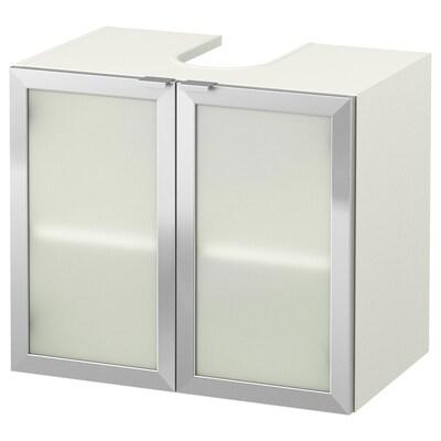 LILLÅNGEN 릴롱엔 세면대하부장+도어2, 화이트/알루미늄, 60x38x51 cm