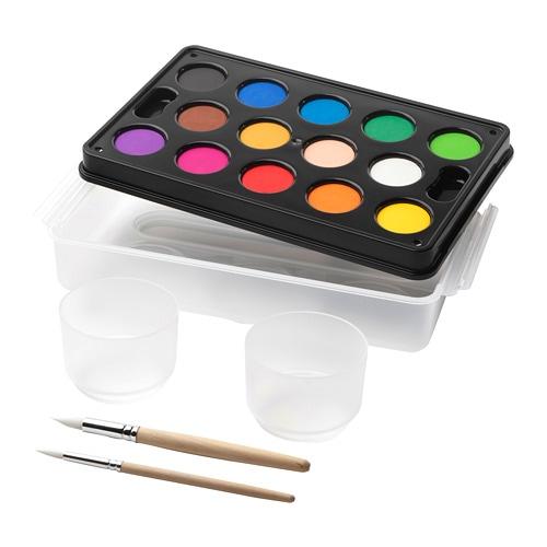 MÅLA 몰라 수채화물감 세트 IKEA 물감이 부드럽게 잘 섞여서 아이들도 쉽게 나만의 컬러를 만들 수 있습니다. 실용적인 상자 디자인으로 아이들이 미술용품을 편하게 넣어 다닐 수 있어요.