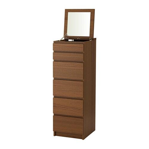MALM 6칸서랍장 - 브라운스테인 물푸레무늬목/거울유리 - IKEA
