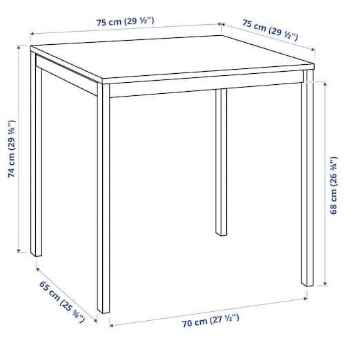 MELLTORP 멜토르프 테이블, 화이트, 75x75 cm