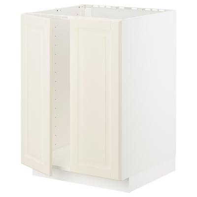 METOD 메토드 싱크대하부장+도어2, 화이트/보드뷘 오프화이트, 60x60x80 cm