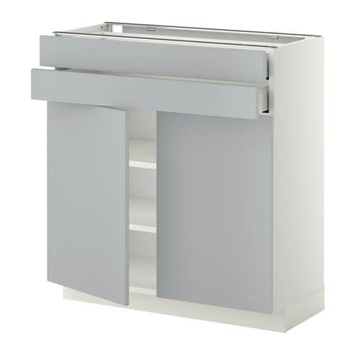 Gamma Keukenkasten : METOD 하부장+도어2 서랍2 화이트, Ma, VEDDINGE 그레이, 80x37x80 cm IKEA