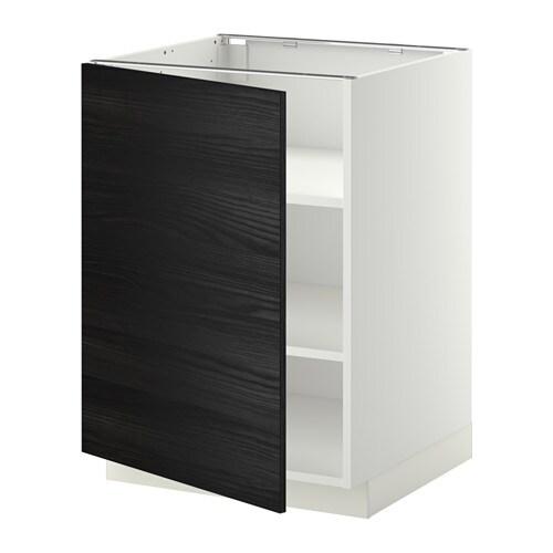 METOD 하부수납장+선반 - 화이트, TINGSRYD 목재효과 블랙, 60x60x80 cm - IKEA