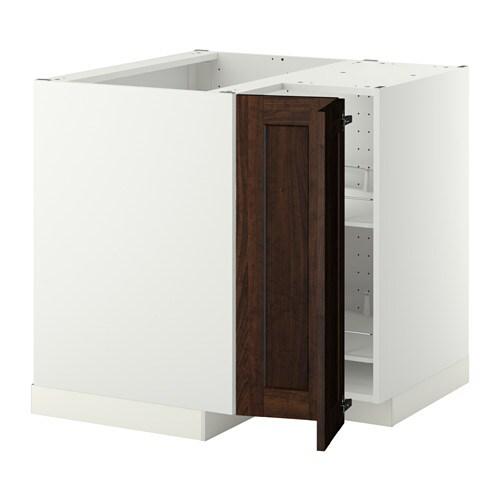 METOD 코너하부장+회전선반 - 화이트, EDSERUM 목재효과 브라운 - IKEA