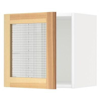 메토드 벽수납장+유리도어, 화이트/토르함 물푸레나무, 40x37x40 cm