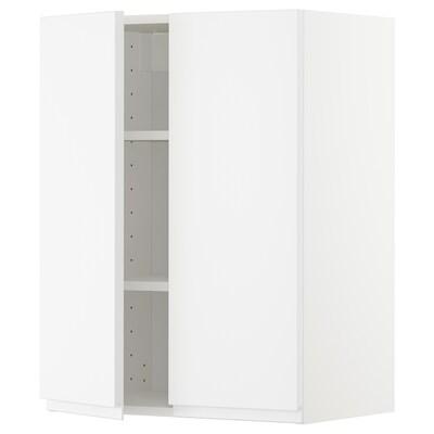 메토드 벽수납장+선반/도어2, 화이트/복스토르프 매트화이트, 60x37x80 cm