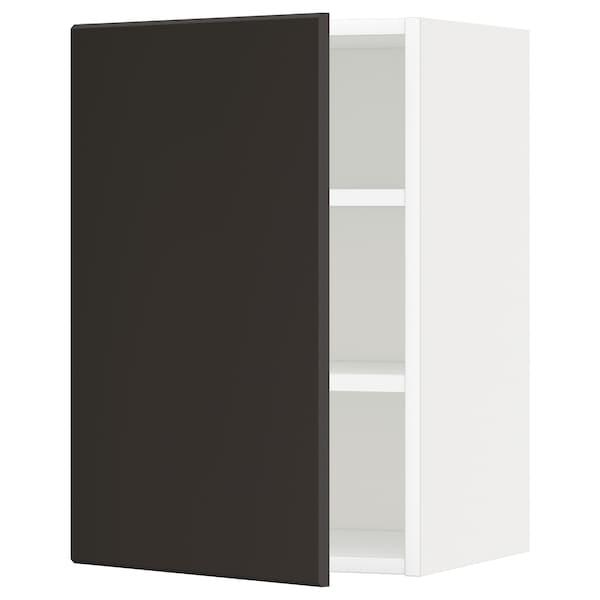 METOD 메토드 벽수납장+선반, 화이트/쿵스바카 앤트러싸이트, 40x37x60 cm