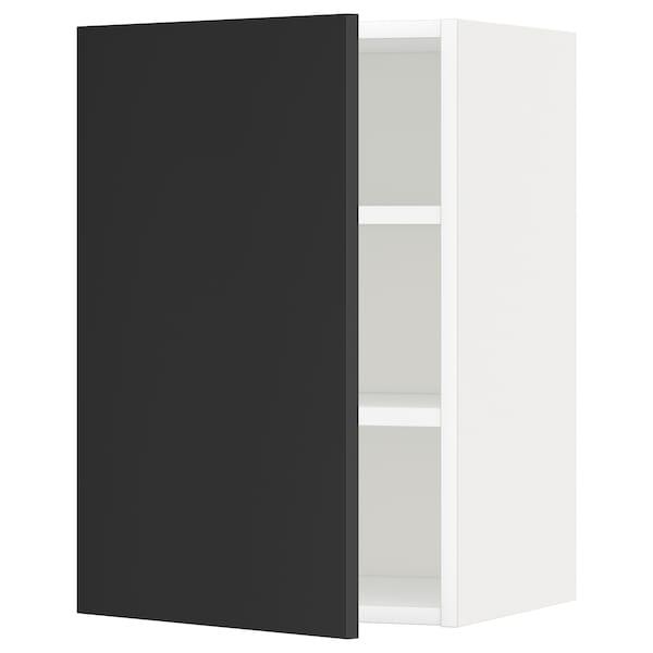 METOD 메토드 벽수납장+선반, 화이트/우데발라 앤트러싸이트, 40x37x60 cm