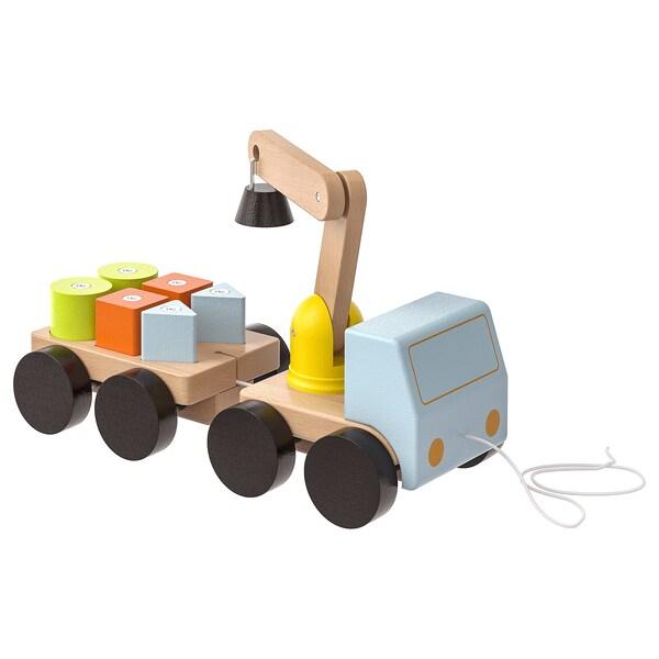 MULA 물라 장난감크레인차+블럭, 멀티컬러/너도밤나무