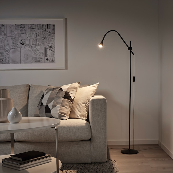 NÄVLINGE 네블링에 LED플로어스탠드/독서등, 블랙
