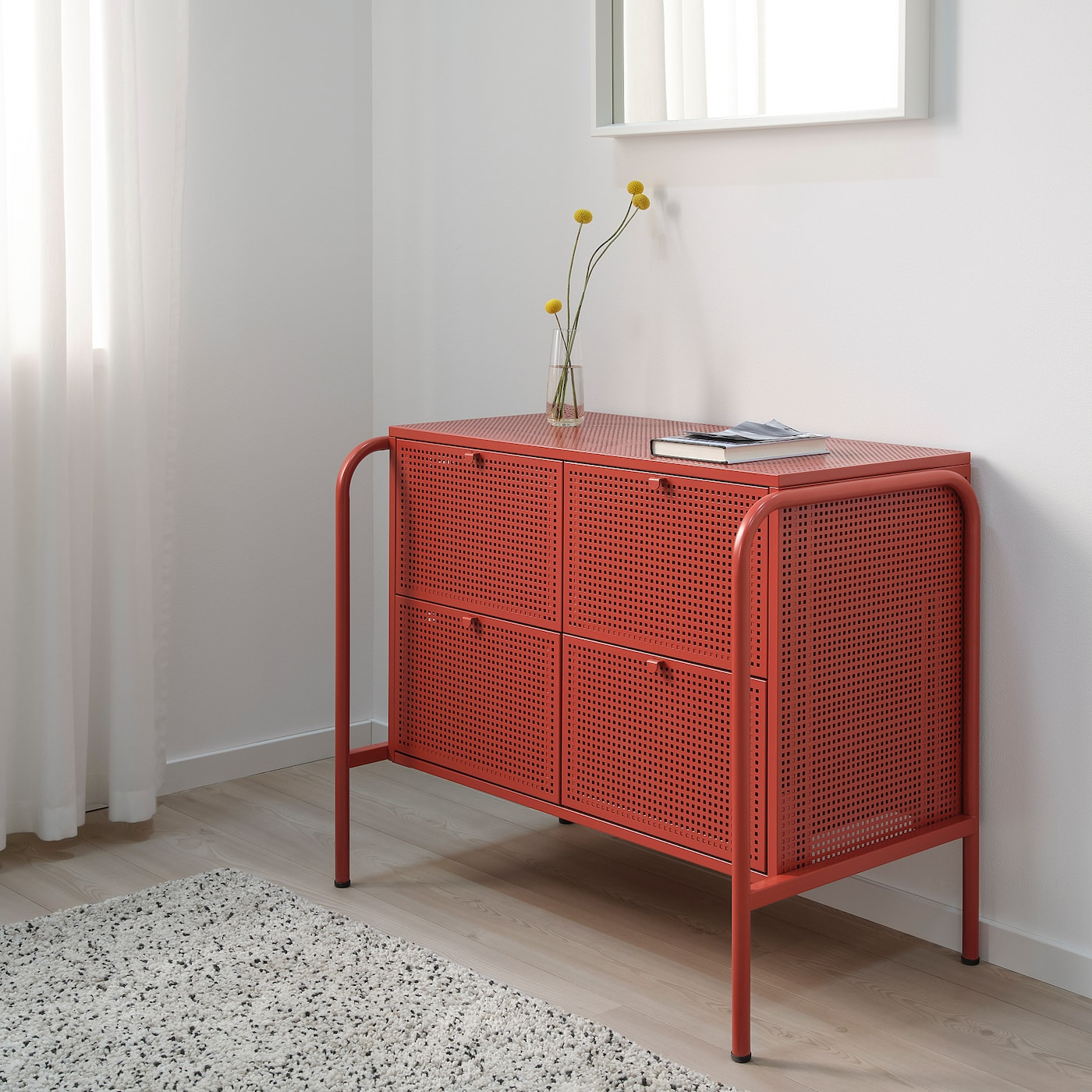 NIKKEBY 니케뷔 4칸서랍장, 레드, 84x70 cm