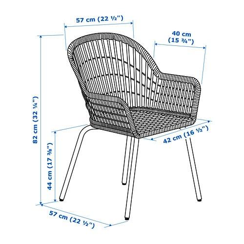 NILSOVE 닐소베 팔걸이의자 IKEA 숙련된 공예전문가가 손으로 엮어 만들어서 의자의 둥근 모양과 세부적인 패턴 모양이 저마다 다르고 독특한 개성을 지니고 있습니다.