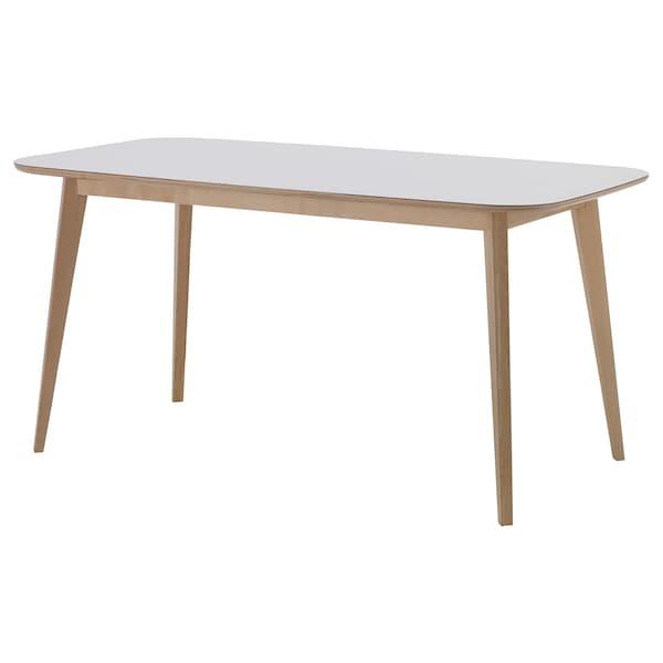 노르드뮈라 테이블, 화이트/자작나무무늬목, 120x75 cm