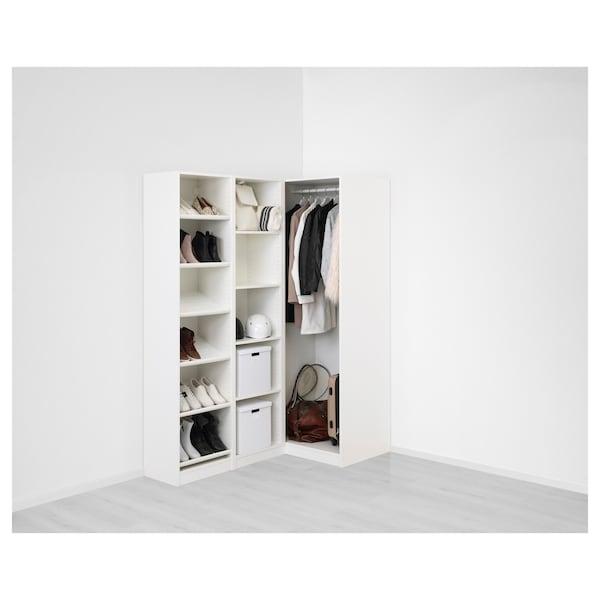 PAX 팍스 코너옷장, 화이트/플리스베리에트 라이트베이지, 160/88x201 cm