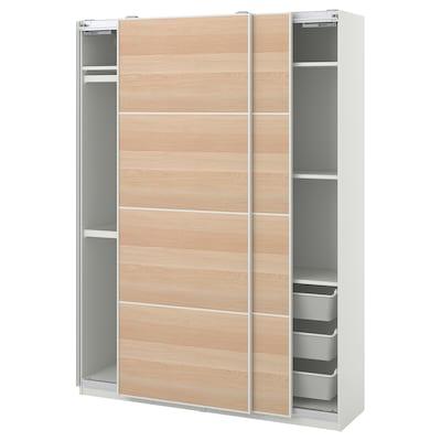 PAX 팍스 / MEHAMN 메함 옷장콤비네이션, 화이트/화이트스테인 참나무무늬, 150x44x201 cm
