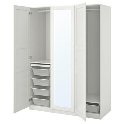 PAX 팍스 / TYSSEDAL 튀세달 옷장콤비네이션, 화이트/거울유리, 150x60x201 cm