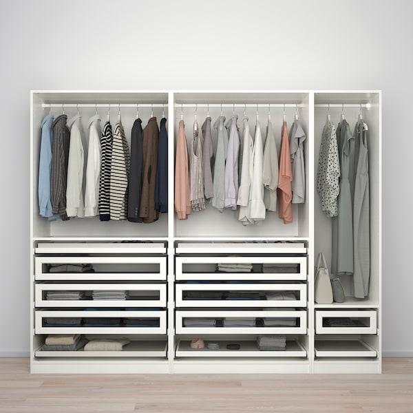 PAX 팍스 / TYSSEDAL 튀세달 옷장콤비네이션, 화이트/화이트 유리, 250x60x201 cm