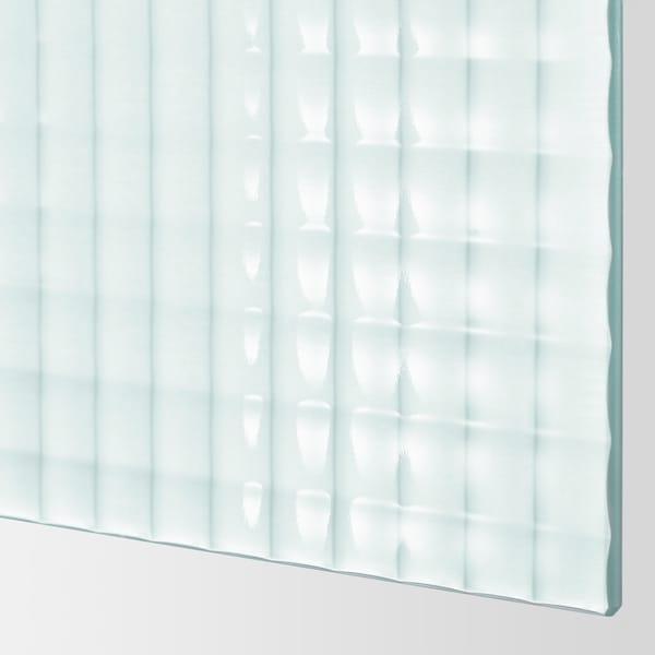 PAX 팍스 옷장, 화이트/뉘키르케 반투명유리, 체크 무늬, 200x66x201 cm