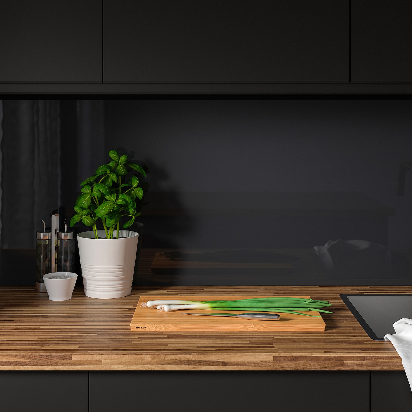 PINNARP 핀나르프 조리대, 호두나무/무늬목, 186x3.8 cm
