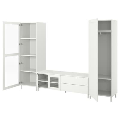 PLATSA 플랏사 TV/수납콤비네이션+도어4/서랍2, 화이트/폰네스 베르드, 280x42x191 cm
