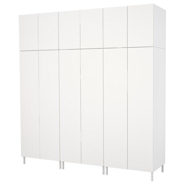 PLATSA 플랏사 옷장, 화이트/폰네스 화이트, 240x57x251 cm