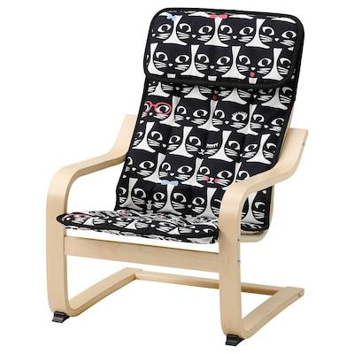 POÄNG 포엥 어린이암체어, 자작나무무늬목/이슬라르프 고양이 패턴