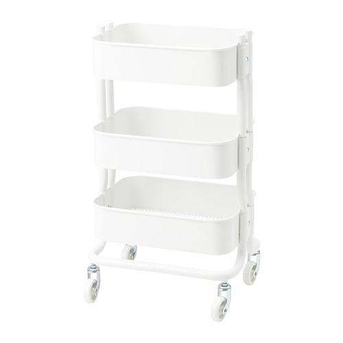 RÅSHULT 로스훌트 카트 IKEA 구조가 안정적이고 바퀴 4개가 있어서 편하게 움직일 수 있고 자유롭게 사용할 수 있습니다. 크기가 작아서 좁은 공간에 딱 맞게 넣을 수 있습니다. 중간선반의 높이를 조절할 수 있어서 원하는 물건을 편하게 수납할 수 있어요.