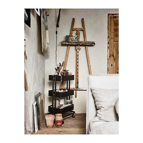 RÅSKOG 로스코그 카트 IKEA 구조가 안정적이고 바퀴 4개가 있어서 편하게 움직일 수 있고 자유롭게 사용할 수 있습니다. 크기가 작아서 좁은 공간에 딱 맞게 넣을 수 있습니다. 주방이나 현관, 침실, 홈오피스 등에서 보조수납공간으로 활용하세요.