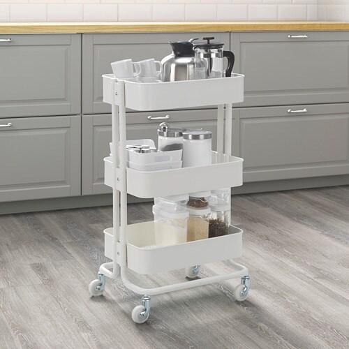 RÅSKOG 로스코그 카트 IKEA 주방, 욕실 또는 추가적인 수납공간이 필요한 곳에서 유용하게 활용하실 수 있습니다. 구조가 안정적이고 바퀴 4개가 있어서 편하게 움직일 수 있고 자유롭게 사용할 수 있습니다. 크기가 작아서 좁은 공간에 딱 맞게 넣을 수 있습니다.
