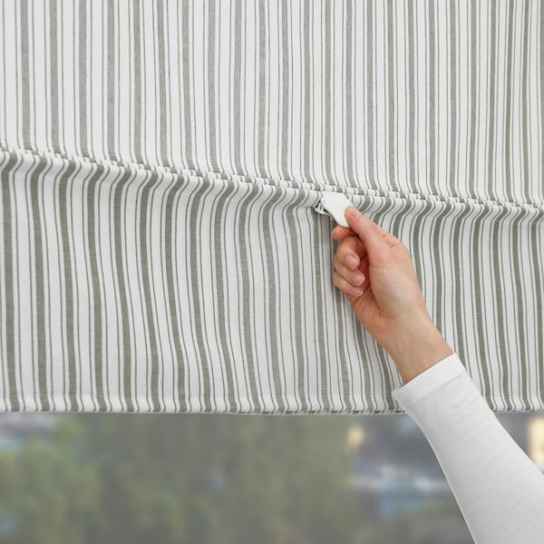 RINGBLOMMA 링블롬마 로만블라인드, 화이트/그린/스트라이프, 140x160 cm