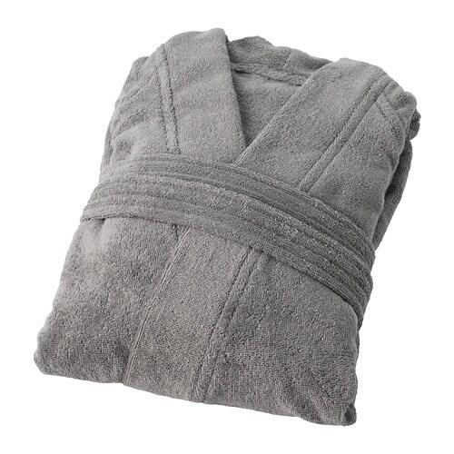 ROCKÅN 로콘 목욕가운 IKEA 편안한 목욕가운을 입고 일요일 오전을 느긋하게 즐길 수 있습니다. 소매 솔기가 겨드랑이에서 비스듬하게 내려와 껄끄러운 솔기가 피부에 닿지 않고 여유롭게 움직일 수 있습니다.
