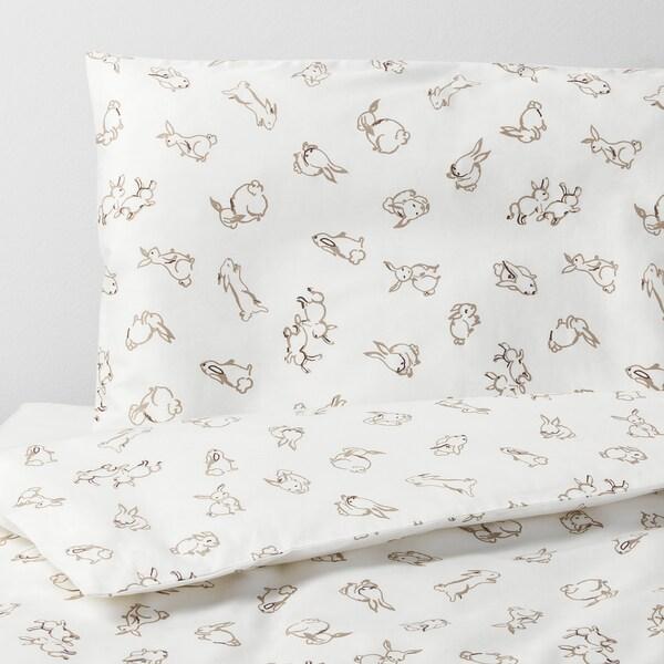 RÖDHAKE 뢰드하케 유아용침대이불커버+베개커버, 토끼 무늬/화이트/베이지, 110x125/35x55 cm